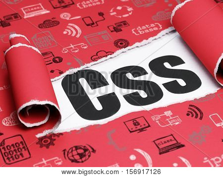 Software concept: black text Css under the curled piece of Red torn paper with  Hand Drawn Programming Icons, 3D rendering