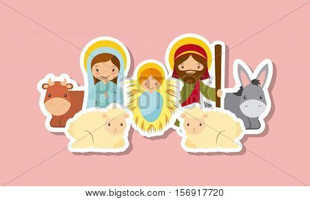 holy family with animals over pink background. colorful design. vector illustration
