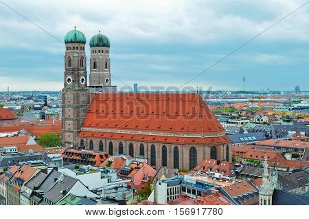 The Frauenkirche (Cathedral of Our Dear Lady) church in the Bavarian, Munich