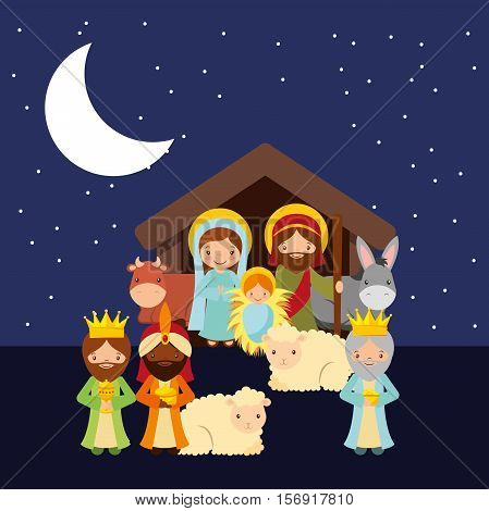 holy family with animals over night background. religious manger scene. colorful design. vector illustration