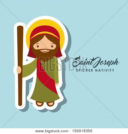 cartoon cute saint joseph character over blue background. sticker nativity design. vector illustration
