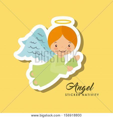 cartoon cute angel character over yellow background. sticker nativity design. vector illustration