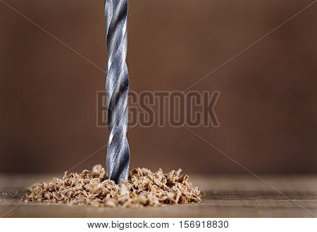 Drill bit makes hole in wood on a dark background.