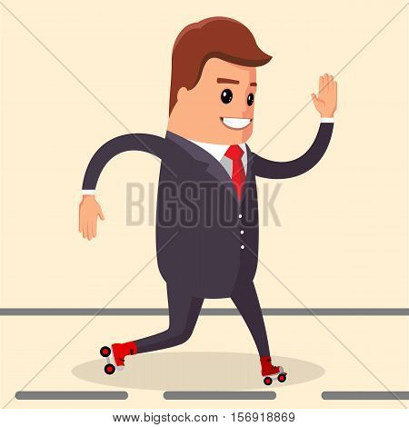 Vector, happy businessman. Manager character on the roller skates. Business man is roller skating.