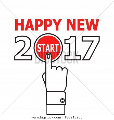 Happy new year conceptual greeting card, vector illustration on red background. 2017 happy new year. New year 2017 card design. Start new year 2017 idea. thin line icon.