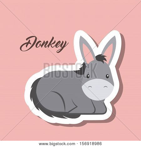 cute donkey animal sticker over pink background. vector illustration