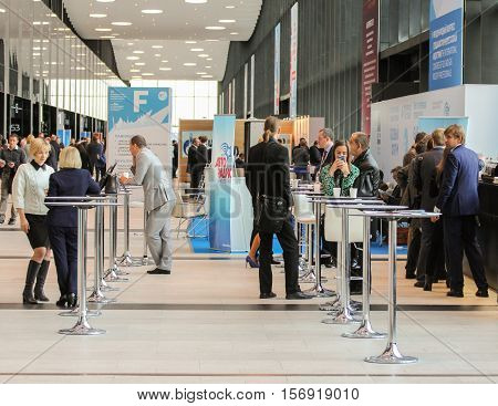 St. Petersburg, Russia - 5 October, People in the recreation area on the forum, 5 October, 2016. Petersburg Gas Forum which takes place in Expoforum.