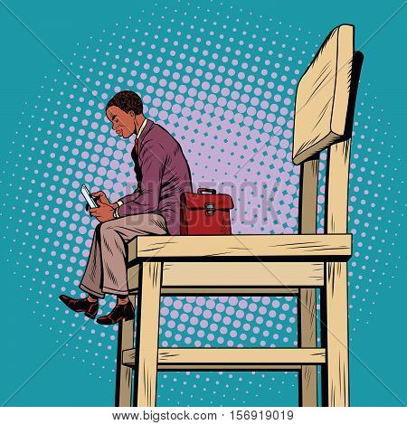 Small business man on the big chair, and smartphone, pop art retro vector illustration