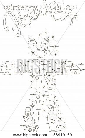 Typography banner with stylized black gingerbread and hand drawing lettering Winter Holiday on white, stock vector illustration