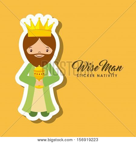 cartoon wise man sticker nativity over yellow background. colorful design. vector illustration