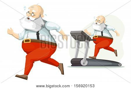 Santa Claus on the treadmill, running, losing weight. Getting ready for Christmas. poster