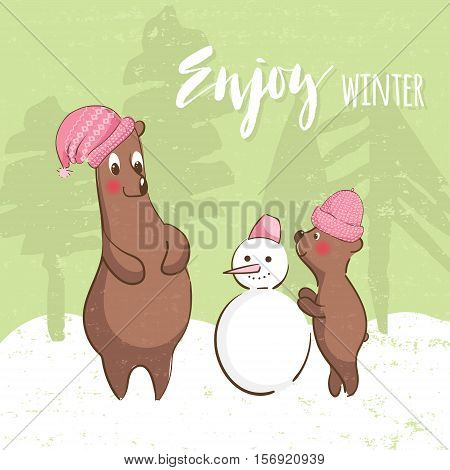 Illustration with cute bears. Happy Mother-bear and cub make a snowman. Winter time.Kids illustration postcard.