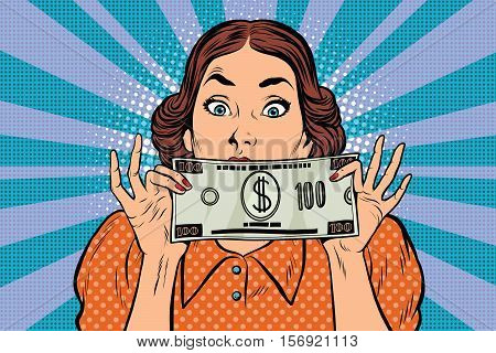 Surprised beautiful retro woman, banknote hundred dollars, pop art vector illustration