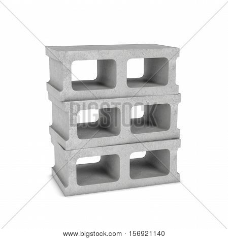 3d rendering of three cinder blocks isolated on the white background. Building materials. The construction industry.