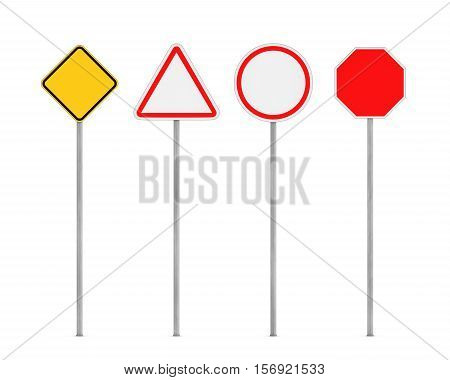 3d rendering of four blank road signs on posts isolated on the white background. Road safety. Traffic regulations. Warning signs and symbols. Information for drivers and pedestrians.