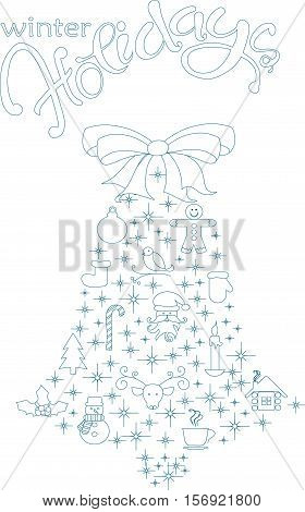 Typography banner with stylized blue bell and hand drawing lettering Winter Holiday on white, stock vector illustration