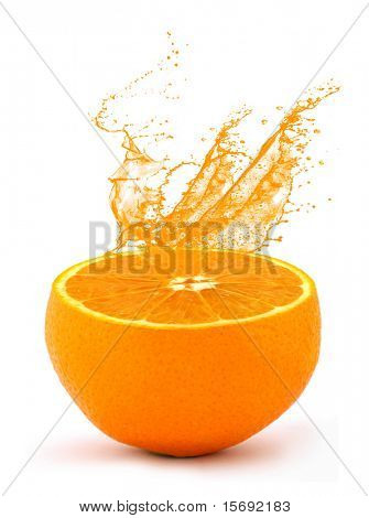 Juice squirting from an orange poster