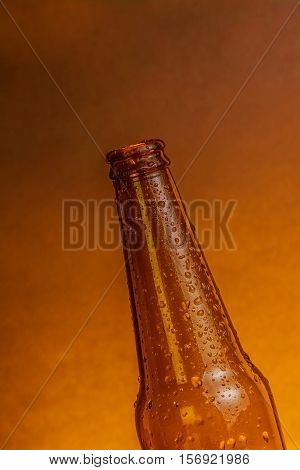 Fresh Cold Beer Ale Bottle With Drops Without Stopper Beer Cap