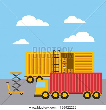 cargo truck and container over sky background. import and export design. vector illustration