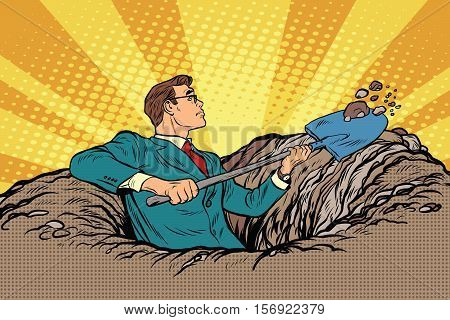 Businessman with a shovel digging, pop art retro vector illustration. The funeral and cemetery. Treasure and discovery