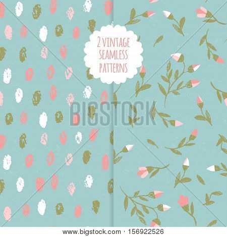 Vector doodle seamless patterns.Hand-drawn pencil pattern with branches and ovals on a textured background. Endless background can be used for printing fabric and paper or invitation.