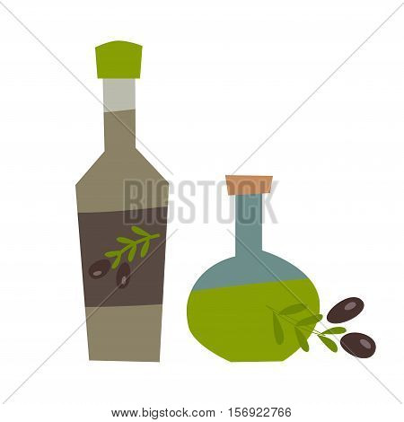 Olive oil vector illustration. Bottle and olive leaf icon. Organic oil cartoon style. Extra oil logo isolated on white background