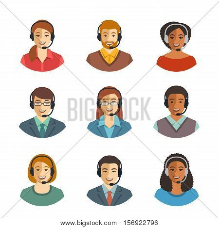 Call center agents flat avatars. Live chat operators guys and girls smiling faces. Online customer support service assistants with headphones. Help desk Caucasian African Asian consultants
