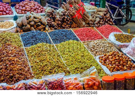 Raisins For Sale At Night Market, Dunhuang