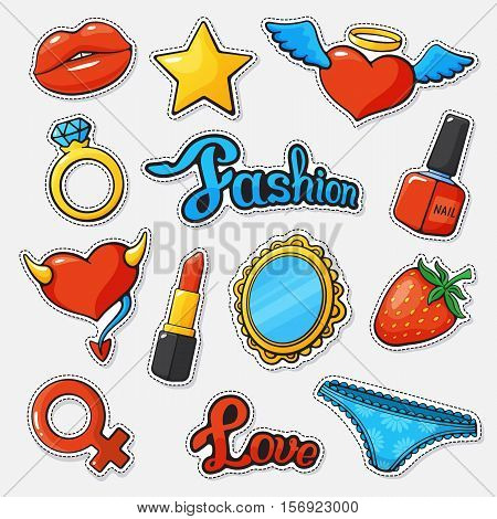 Vector illustration. Fashion set badges with lip, heart, star, mirror, ring, lipstick, nail polish, panties, Venus symbol and words fashion and love. Set of stickers, pins, patches, embroidery in cartoon comic style. Fun stickers set with trend elements