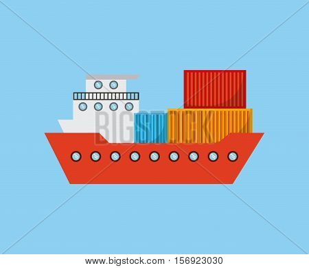 cargo ship with container over blue background. vector illustration