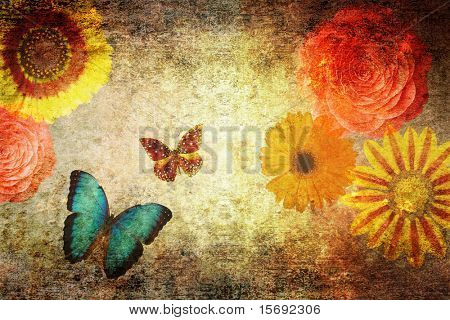 grungy old textured paper with flowers and butterflies