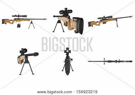 Rifle sniper gun black metal set. 3D rendering