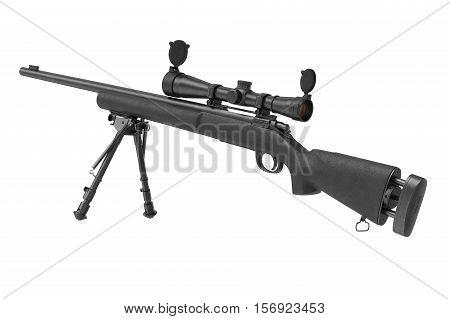 Rifle sniper firearm gun with bipod. 3D rendering