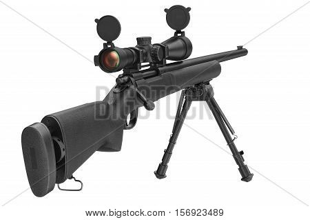 Rifle sniper steel shotgun with optical scope. 3D rendering