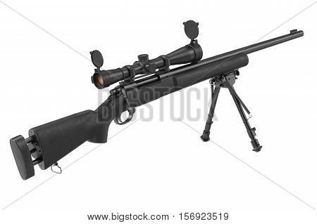 Rifle sniper black with optical scope and bipod. 3D rendering