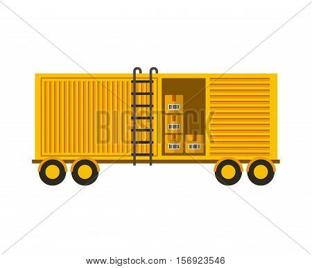 yellow container with carton boxes inside over white background. vector illustration