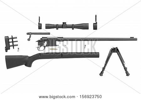 Rifle sniper weapon disassembled, side view. 3D rendering