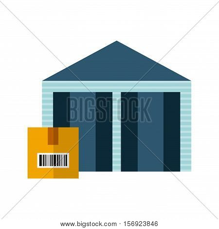 warehouse with carton box over white background. vector illustration