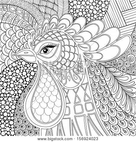 Zentangle Rooster vector illustration. Symbol 2017 New Year. Hand drawn farm bird in monochrome doodle style for adult antistress coloring pages, books, art therapy. Sketch for tattoo, t-shirt print.