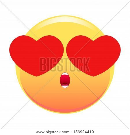 Smiley with eye-hearts. With an open mouth. Isolated on white background.