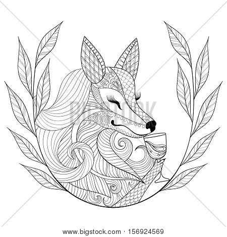 Zentangle Fox with glass of wine in monochrome doodle style. Hand drawn Wild animal with wreath, vector face illustration for adult coloring page, book, art therapy. Sketch for logo, t-shirt print.