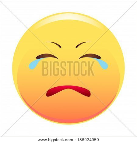 Sad emoticon. Vector illustration. Isolated on white background.