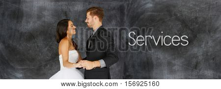 Young woman who is getting married on chalkboard