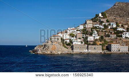 View Cape of Hydra island, Aegean sea, Greece.