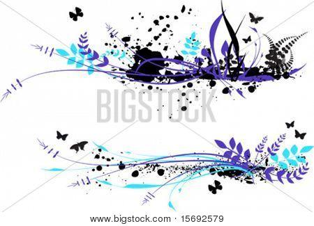 splotchy Leaf foliage and butterfly frame