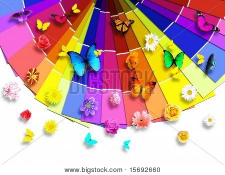 Color palette with butterflies and flowers