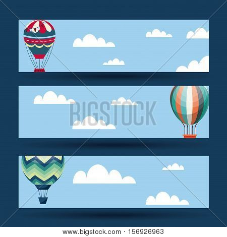 air balloons over sky and blue background. colorful design. vector illustration