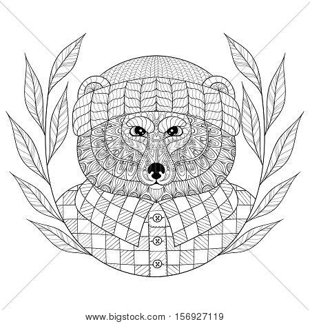 Vector Bear in hat with wreath, zentangle, doodle style. Hand drawn Wild animal head illustration for adult coloring pages, art therapy, craft beer logo. Monochrome sketch for logotype, t-shirt print.