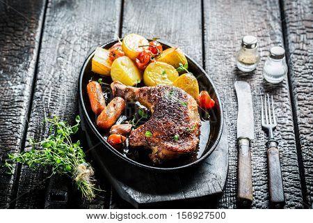 Roasted Piece Of Chicken With Fresh Marjoram