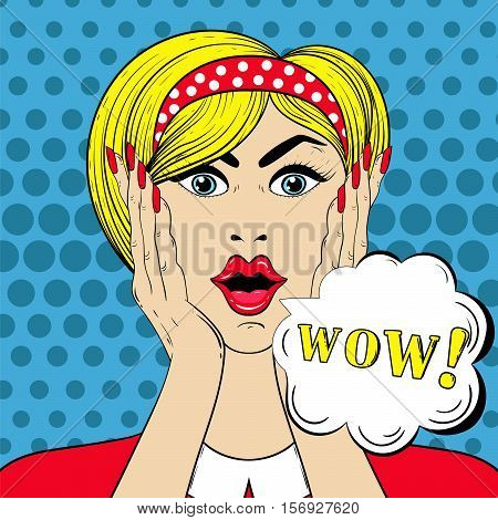 WOW face in Pop Art style, Surprised scared Woman with wow-sign for sale cards, banners, template. Vector illustration